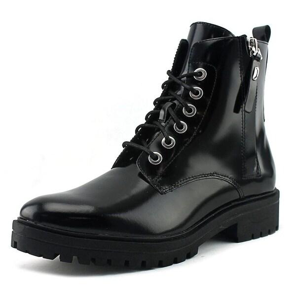 Kendall + Kylie Jordana Women Round Toe Leather Black Combat Boot