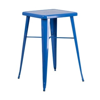 Offex 23.75'' Square Blue Metal Indoor-Outdoor Bar Height Table [OF-CH-31330-BL-GG]