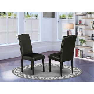 Link to East West Furniture ENP1T69 Encinal Parson Chair with Black Leg and Pu Leather Color Black, Set of 2 Similar Items in Dining Room & Bar Furniture