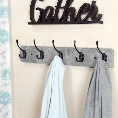 Household Essentials 5-Hook Woodgrain Laminate Wall Mounted Coat Rack, Greystone