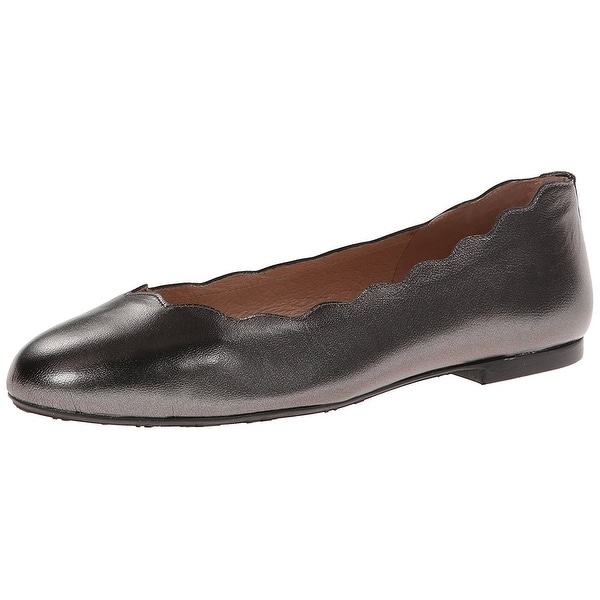 French Sole Womens Jigsaw Leather Closed Toe Ballet Flats