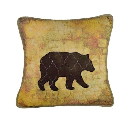 Donna Sharp Wood Patch Bear Decorative Pillow