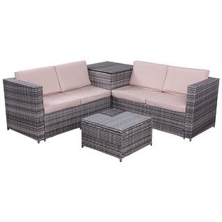 Costway 4PCS Patio Rattan Wicker Furniture Set Sofa Loveseat ...