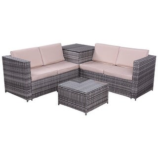 Exceptional Costway 4PCS Patio Rattan Wicker Furniture Set Sofa Loveseat Cushioned  W/Storage Box