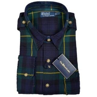 Polo Ralph Lauren Mens Plaid Shirt Small S Long Sleeve Blue Euro 48