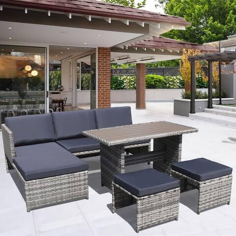 Direct wicker L-shape 5-Piece PE Wicker Sofa Set