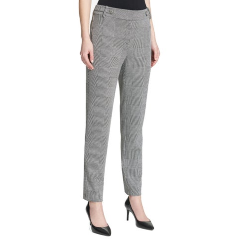 Calvin Klein Gray Womens Size 2 Plaid Tapered-Leg Dress Pants