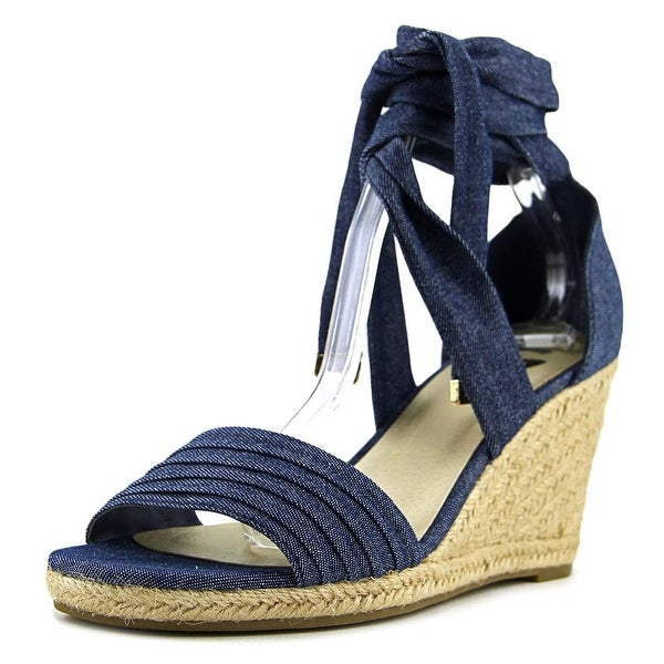 G By Guess Beaut 2 Women Open Toe Canvas Blue Wedge Sandal