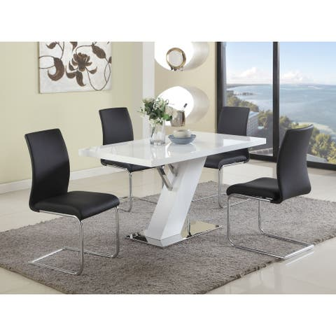 Somette Lillian Gloss White 5-Piece Dining Set with Black Chairs