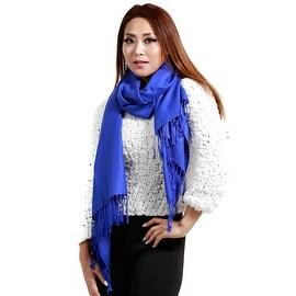 "Fringed Pashmina Silk Large Scarf, 27""x72"", Royal Blue"
