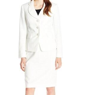 Le Suit NEW White Geometric Texture Women's Size 18 Dress Suit Set