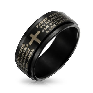 Padre Nuestro Lords Prayer Spinner Ring Black Steel 8mm Band