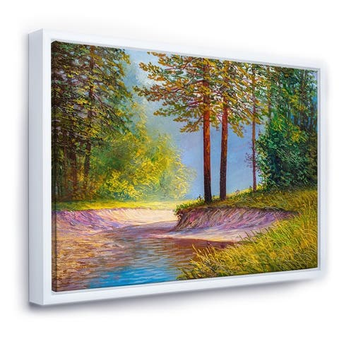 Designart 'Two Trees In Summer Sunshine By Lonely Forest Road' Farmhouse Framed Canvas Wall Art Print