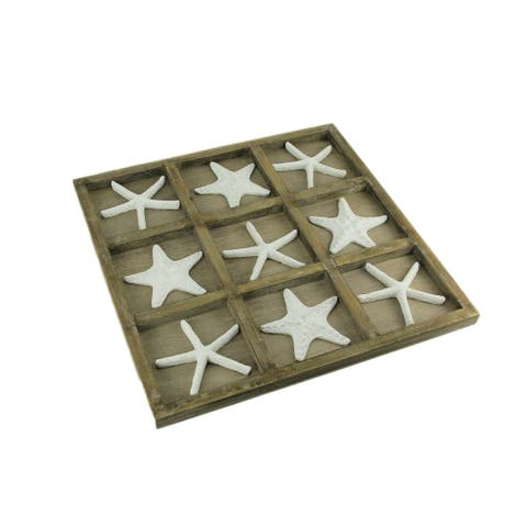 White Starfish and Wood Tic Tac Toe Game Board 20 inch - 1 X 19.75 X 19.75 inches