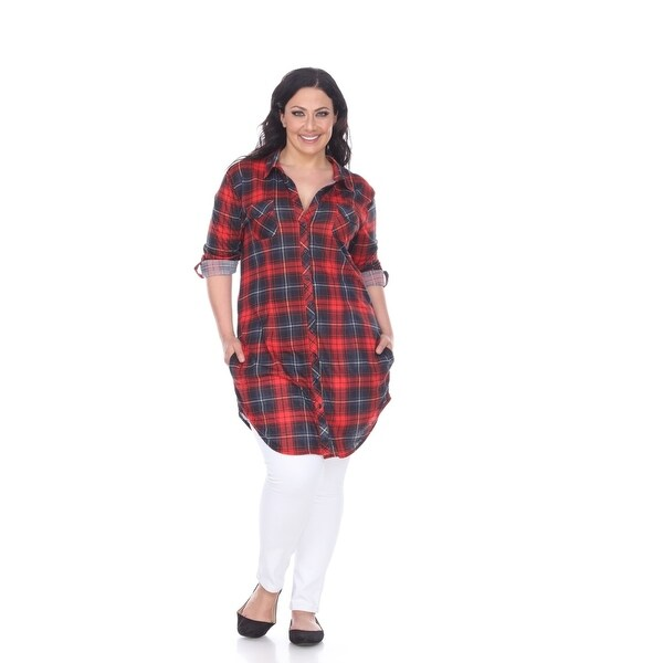 4bacad7b219 Shop Plus Size Piper Plaid Tunic Top - Red   Black - On Sale - Free ...