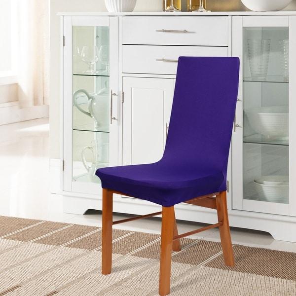 Unique Bargains 2 Pcs Washable Spandex Stretch Dark Purple Dining Chair Slipcovers