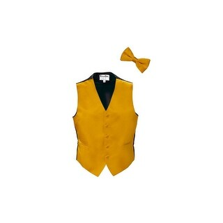 Gold Satin Tuxedo Vest and Bow Tie
