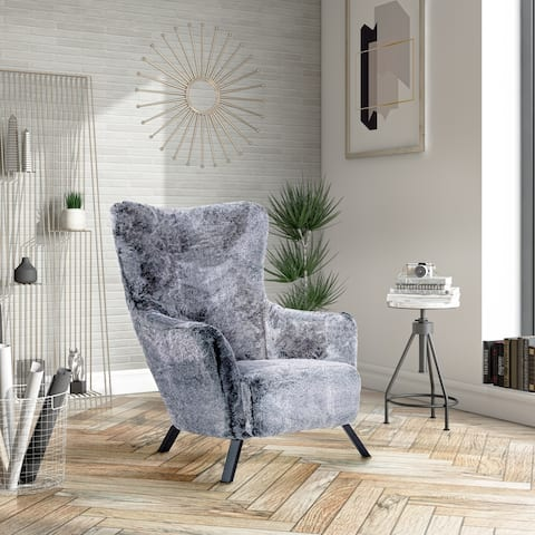 Modrest Findon Glam Grey Faux Fur Accent Chair
