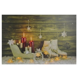 """Large LED Lighted Candles, Ice Skates and Sleigh Christmas Canvas Wall Art 23.5"""" x 15.5"""" - N/A"""