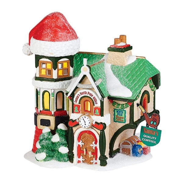 "Department 56 North Pole Toy Land ""Santa's North Pole Office"" Porcelain Lighted Building #4036540 - RED"