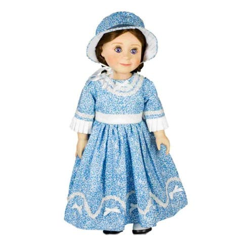 "1800's Historic Style Sunday Blue Dress & Hat, Fits 18"" American Girl Doll Clothes Outfit and Clothing Accessories"