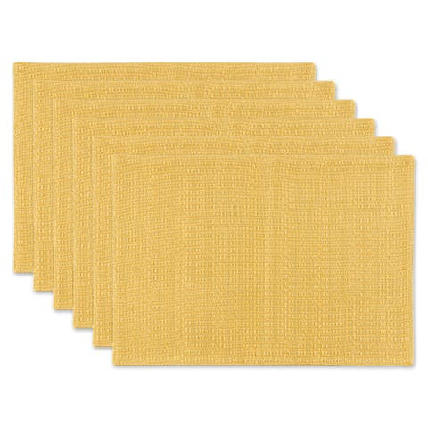 """Set of 6 Apricot Yellow Tonal Variegated Placemat, 19"""""""
