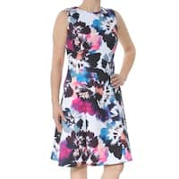 DKNY Womens White Pond Scuba Printed Sleeveless Jewel Neck Knee Length Fit + Flare Party Dress  Size: 2