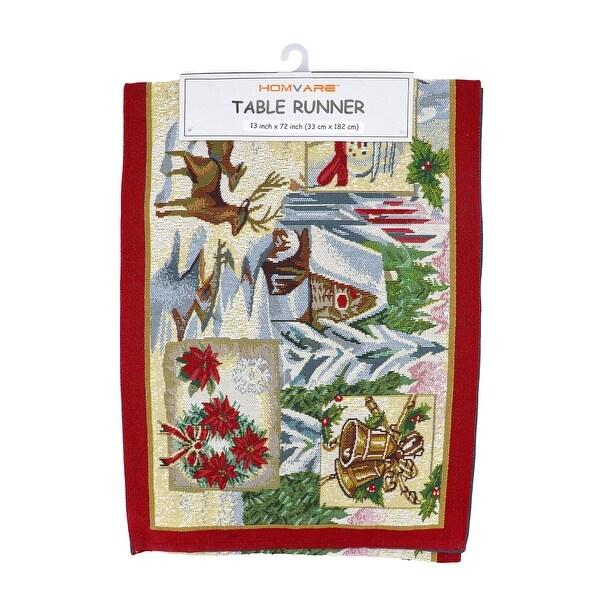 Homvare Holiday Tapestry Runner 13 x 72 - Christmas Scenery