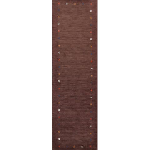 """Contemporary Gabbeh Oriental Runner Rug Hand-knotted Wool Carpet - 2'10"""" x 12'8"""""""