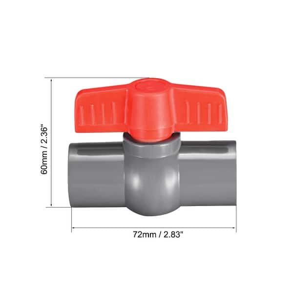 PVC Ball Valve Supply Tube Sliding knob 1//2 inch Ends Inner Hole Diameter Red Gray 2 Pieces