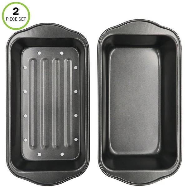 Evelots Meatloaf Pan-Drains Fat-Non Stick-Bread Baking-More Flavor-2 Piece Set. Opens flyout.