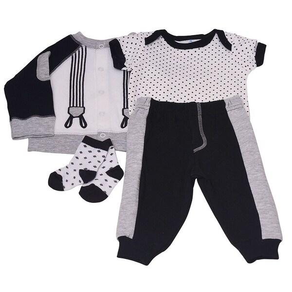 2f9a64e8cd422 Baby Boys Gray Dot Lap Shoulder Bodysuit Pants Top Socks 4 Pc Outfit