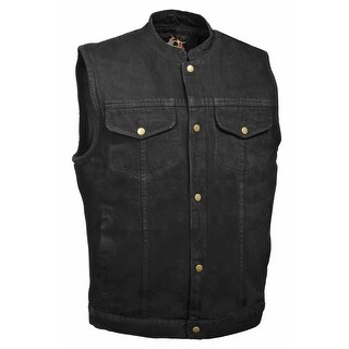 Mens Denim Snap Front Gun Pocket MC Vest