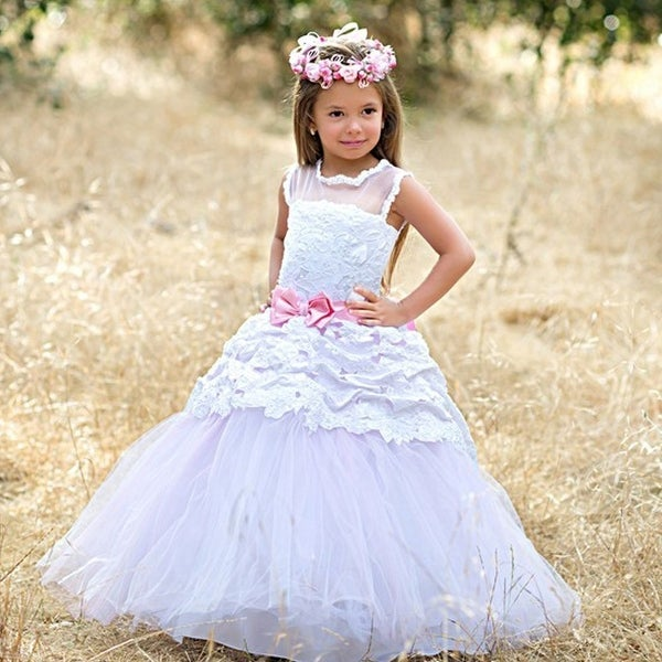 abc9adb028dc Little Girls White Pink Fancy Tier Bow Accent Rosina Flower Girl Dress