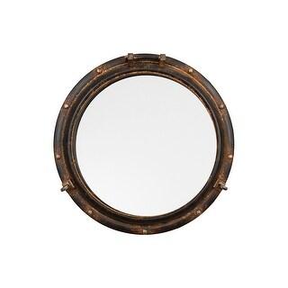 Round Metal Porthole Mirror - Rust