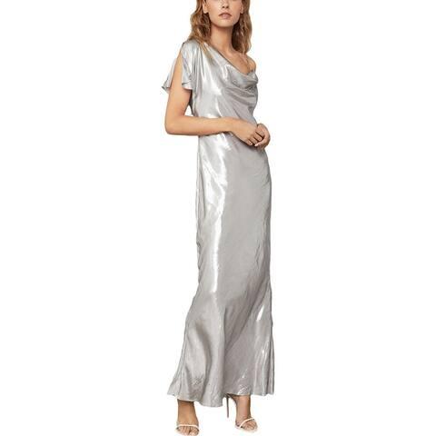 BCBG Max Azria Women's Satin One Sleeve Metallic Cowl Neck Column Gown - Silver