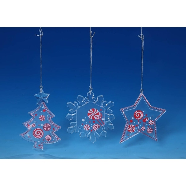 "Set of 12 Peppermint Star, Snowflake and Christmas Tree Ornaments 4"" - WHITE"