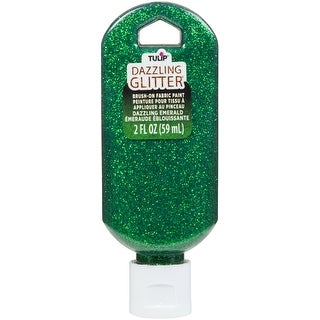Tulip Dazzling Glitter Brush-On Fabric Paint 2Oz-Emerald