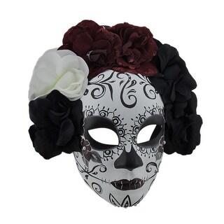 Black & Red La Catrina DOD Sugar Skull Mask w/Flower Crown