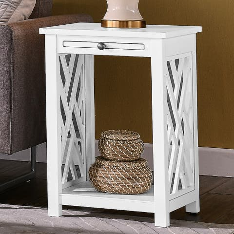 Porch & Den Altadena Wood End Table with Tray Shelf and Bottom Shelf
