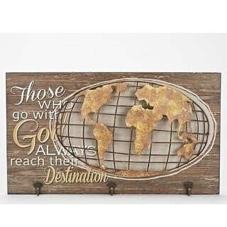 "23.5"" Brown and White Globe Wall Plaque"