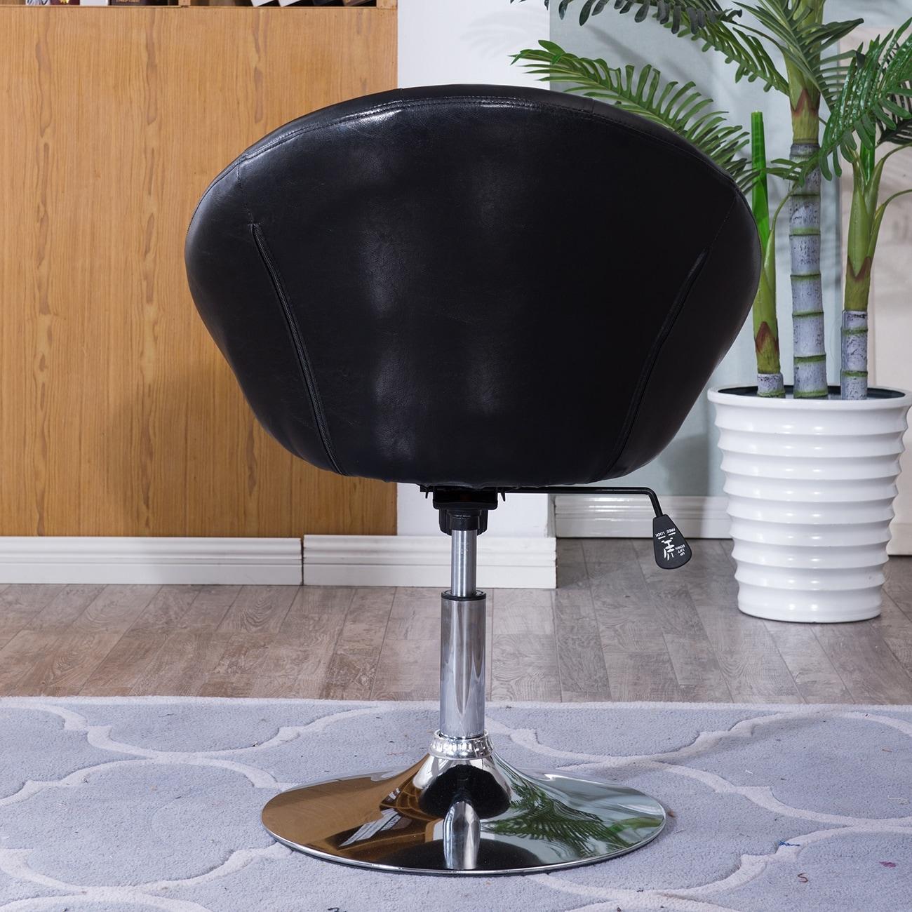 Belleze Round Tufted Back Tilt Adjustable Swivel Accent Chair Hydraulic Lift Chrome Base Black