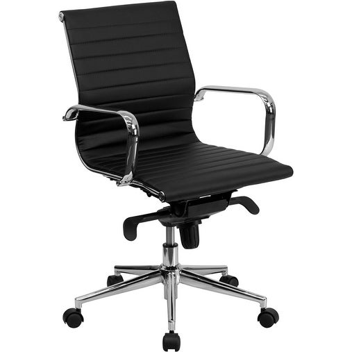 Silkeborg Mid-Back Black Ribbed Leather Swivel Conference Chair w/Knee-Tilt Control & Arms