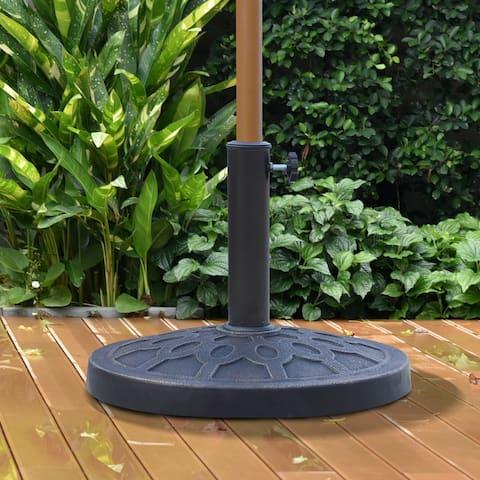 Outsunny Round Bronzed Cast Stone Umbrella Base Holder