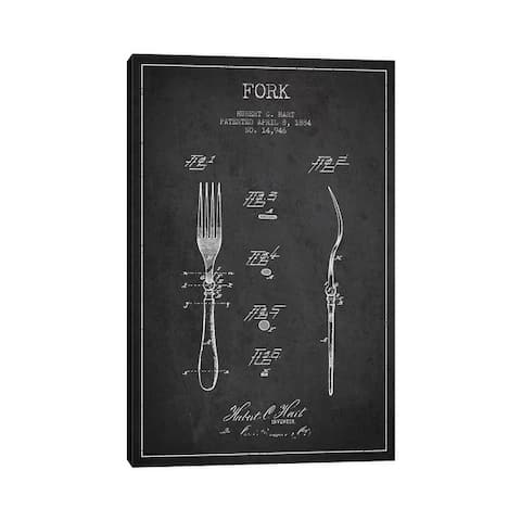 """iCanvas """"Fork Charcoal Patent Blueprint"""" by Aged Pixel Canvas Print"""
