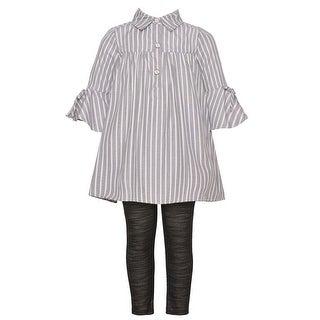 Bonnie Jean Little Girls Gray Stripe Shirt Tunic 2 Pc Legging Outfit