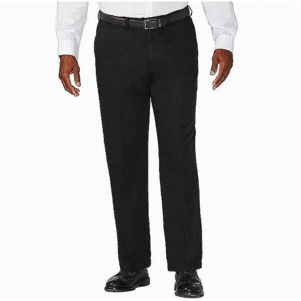 Haggar Mens Pants Black Size 46X29 Big & Tall Classic Fit Flat Khakis. Opens flyout.
