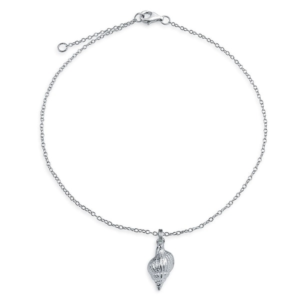 Shell Charm Conch Nautical Anklet Sterling Silver Chain Link Women/'s Jewelry