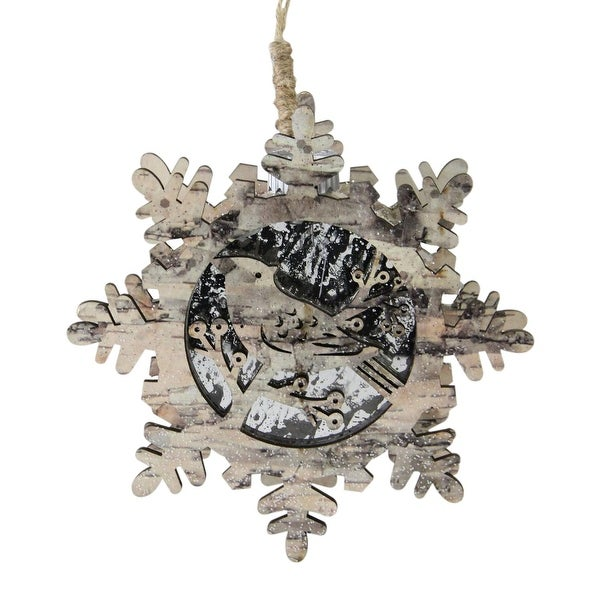 "6"" Nature's Luxury Pre-Lit Snowflake with Bird Christmas Ornament – Warm White Light"