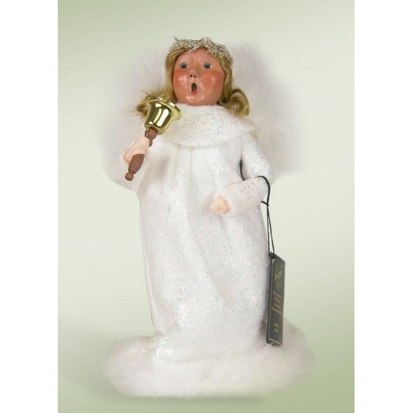 """9.5"""" Decorative Angel Girl in White with Bell Christmas Table Top Figure"""